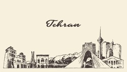 Tehran skyline, Iran, hand drawn vector illustration, sketch