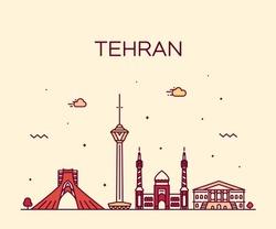Tehran skyline, Iran. Trendy vector illustration, linear style