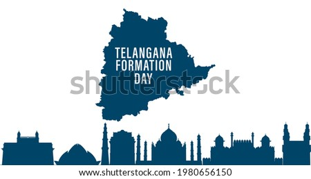 Telangana Formation day June 2nd with map on Indian map showing charminar Photo stock ©