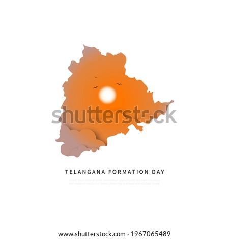 Telangana Formation day vector illustration with Telangana map. Photo stock ©