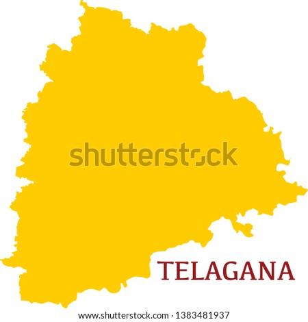 Telangana, India, vector map. High detailed  illustration. - Vector