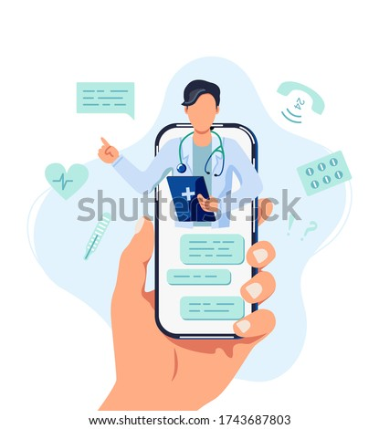 Tele medicine, online doctor and medical consultation concept. Doctor helps a patient on a mobile phone. Flat cartoon style vector illustration.