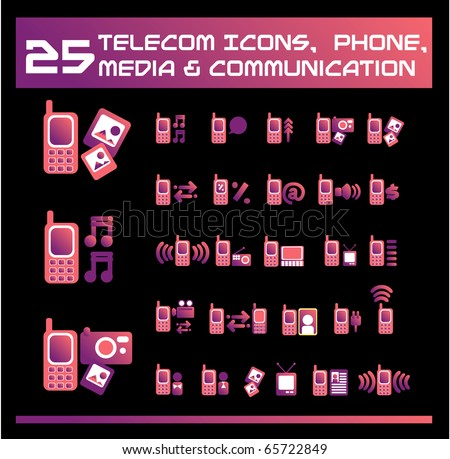 Telecom, media and communication icons. vector Icons for Web Applications. Phone for  Business, Office, Internet, School and Education.