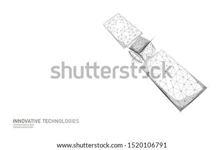Telecommunication defense satellite in space. Orbital sputnik receiver military security data transmitter internet connection. Worldwide protection tracking information background vector illustration
