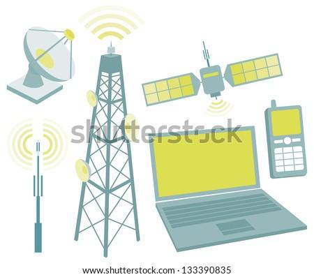 Telecommunication equipment icon set