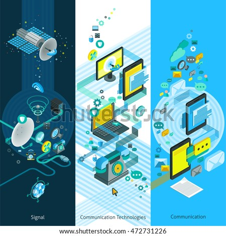 Telecommunication isometric vertical banners with global network elements modern communication equipment and cloud technology vector illustration