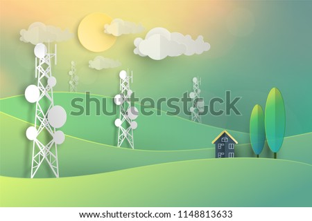 telecommunication mast television antennas in paper cut vintage pastel style on mountain