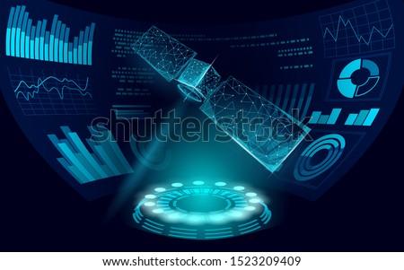 Telecommunication satellite receiver antenna. Orbital sputnik military security data transmitter internet connection. Worldwide protection tracking information background vector illustration
