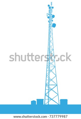 Telecommunication tower blue constructions vector background isolated on white