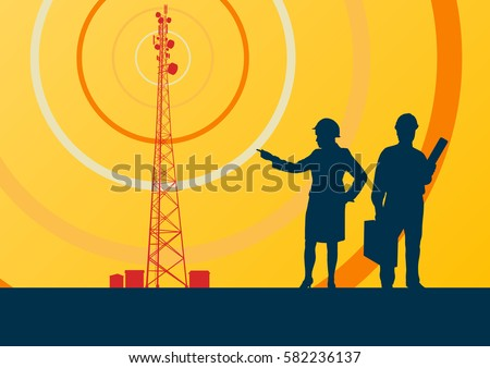 Telecommunication tower with television antennas and satellite dish engineer inspection vector background with illustrative abstract wireless signal