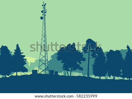 Telecommunication tower with television antennas and satellite dish vector background landscape with forest and trees