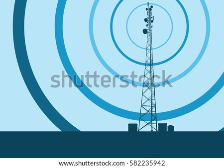 Telecommunication tower with television antennas and satellite dish vector background with illustrative abstract wireless signal