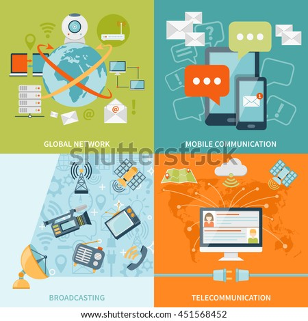 Telecommunication 2x2 design concept set of mobile radio and satellite communication and global network flat icons compositions vector illustration