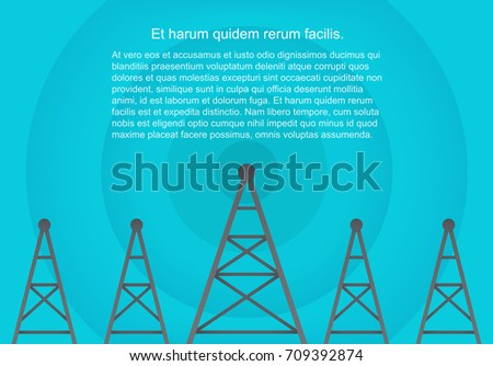 Telecommunications cellular towers in volumetric paper flat style. Data radar background.