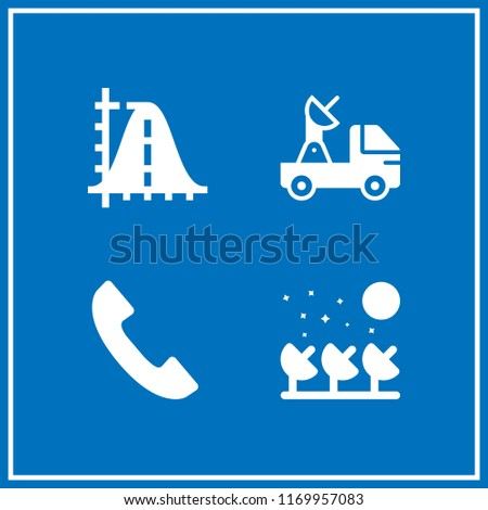 telecommunications icon. 4 telecommunications vector set. satellite, phone handset, parabola and satellite dish icons for web and design about telecommunications theme