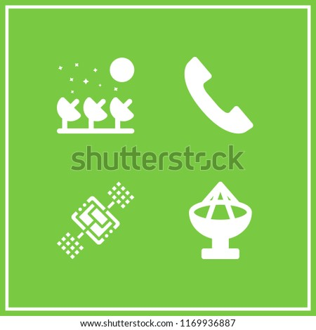 telecommunications icon. 4 telecommunications vector set. satellite, satellite dish and phone handset icons for web and design about telecommunications theme