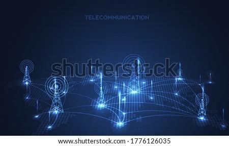 Telecommunications signal transmitter, radio tower from lines. Illustration vector design.