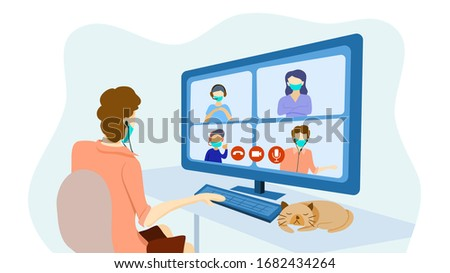 Teleconference for work from home and self quarantine in COVID-19 pandemic concept. A man with video conference or online course with other 3 people. Vector illustration, Flat design