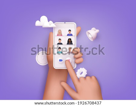 Teleconference web video conference. Colleagues talk to each other on the phone screen. 3D Web Vector Illustrations.