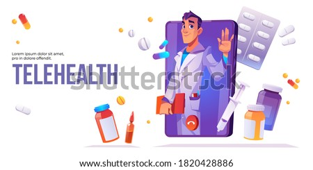 Telehealth cartoon banner, distance online medicine application for mobile phone. Man doctor in white medical robe waving hand on smartphone screen with tablet bottles and syringe, vector illustration