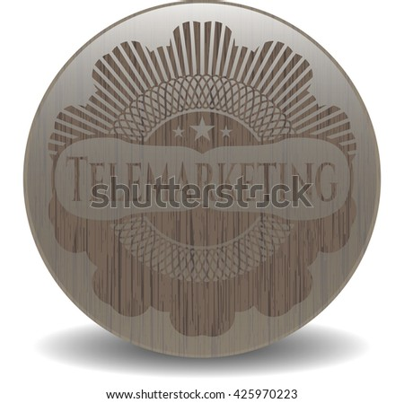 Telemarketing wood icon or emblem