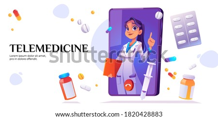 Telemedicine banner. Medical online consultation with doctor on mobile phone screen. Vector landing page of telehealth services with cartoon smartphone, call with nurse, pills and drugs