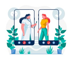 Telemedicine Mobile App Flat Vector Illustration. Cartoon Doctor with Stethoscope Consulting Patient. Unlimited Healthcare Service Access Metaphor. Smartphone Application for Personal Health Checkup
