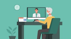 telemedicine, online healthcare and medical consultation and support services concept, senior man using computer video call conferencing to doctor online, flat vector illustration
