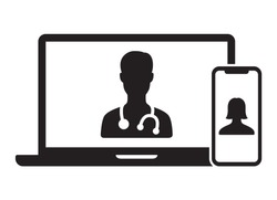 Telemedicine or telehealth virtual visit / video visit between doctor and patient on laptop computer and mobile phone device flat vector icon for healthcare apps and websites