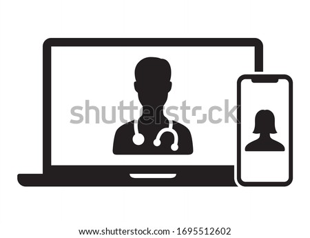 Telemedicine or telehealth virtual visit / video visit between doctor and patient on laptop computer and mobile phone device flat vector icon for healthcare apps and websites Photo stock ©