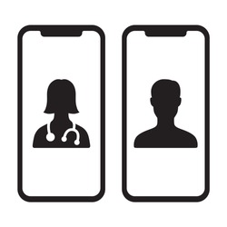 Telemedicine or telehealth virtual visit / video visit between two mobile phones flat vector icon for healthcare apps and websites