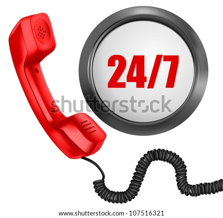 Telephone and 24/7 button. 24 hours in day, 7 days in week support concept. Vector illustration.