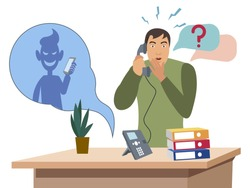 Telephone con man. Flat style Cartoon vector illustration