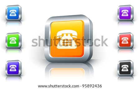 Telephone Icon on 3D Button with Metallic Rim Original Illustration