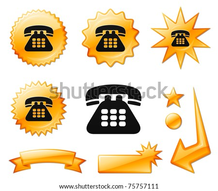 Telephone Icon on Orange Burst Banners and Medals Original Vector Illustration
