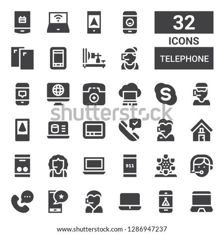 telephone icon set. Collection of 32 filled telephone icons included Laptop, Phone, Call center, Smartphone, Phone operator, London eye, Emergency call, Address, Phone call, Pager
