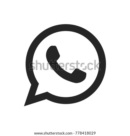 Telephone icon vector, whatsapp logo symbol. Phone pictogram, flat vector sign isolated on white background. Simple vector illustration for graphic and web design.
