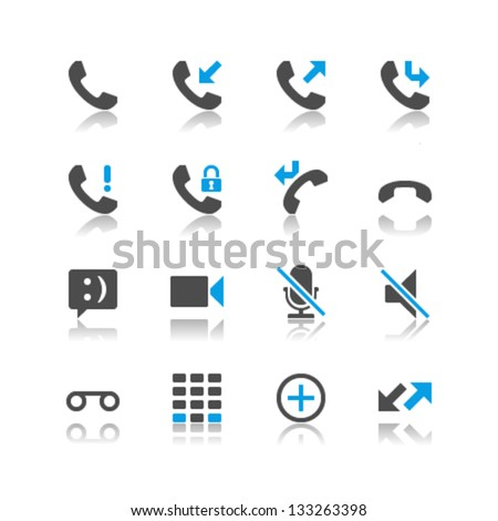 Telephone icons reflection theme - stock vector