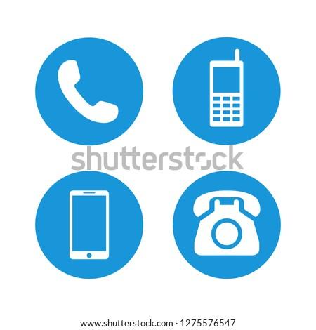 telephone icons set symbol vector