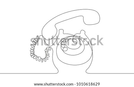Telephone. Line drawing. Vector illustration.