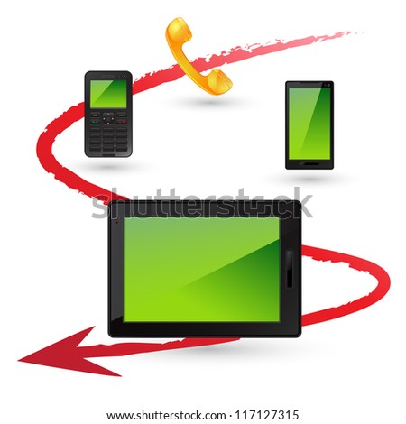 Telephone, Mobile Phone, Smart Phone and Tablet icons