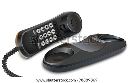 Telephone on white background. Realistic vector illustration