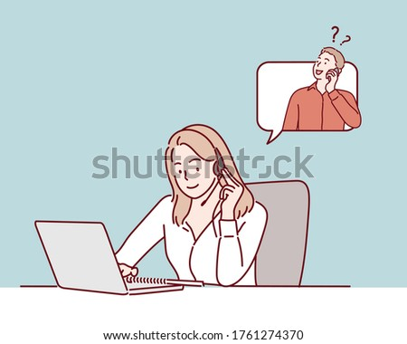 Telephone operator. Call center. Customer support.  Hand drawn style vector design illustrations.