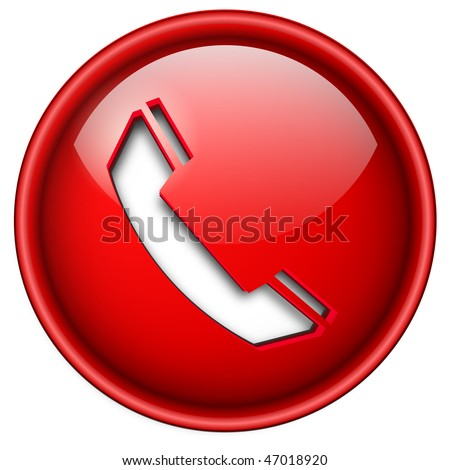 Telephone, phone icon, button, 3d red glossy circle.