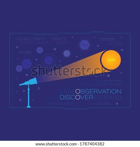 telescope and sun in dark blue