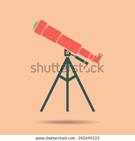 Telescope Flat design .  Icon  color vintage vector illustration