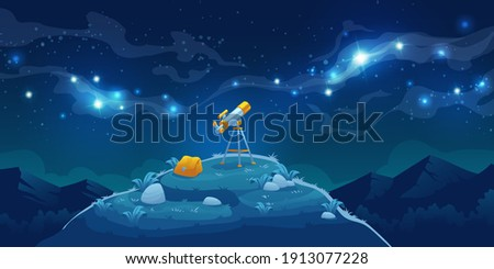 Telescope for science discovery, study astronomy, watching stars and planets in outer space. Vector cartoon landscape with telescope with tripod and backpack on hill, mountains and night starry sky Foto d'archivio ©