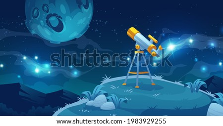 Telescope for space exploration, science discovery and astronomy studying. Equipment for watching stars and planets in cosmos. Night landscape with glass on tripod on hill, Cartoon vector illustration Stock photo ©