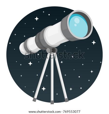 telescope with night sky round