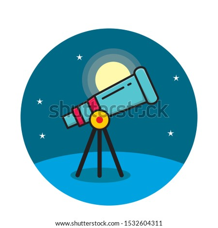 Telescope with night sky vector illustration. Astronomy icon